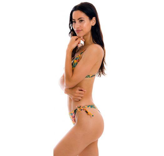 Bikini con doble tira de flores anaranjado - SET LIS TRI-FIXO FIO-TIE