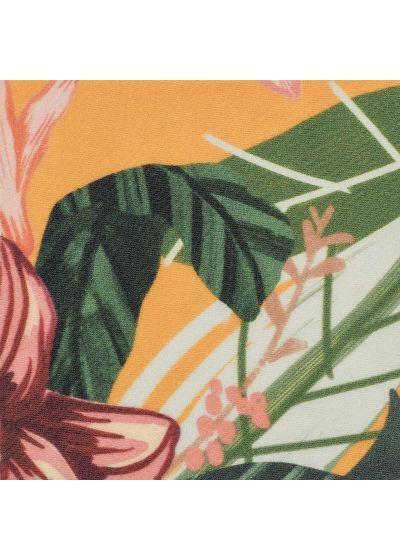 Bikini scrunch jaune orangé à fleurs bords ondulés - SET LIS TRI FRUFRU
