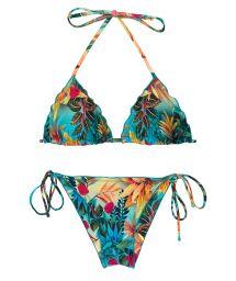 Tropical floral scrunch bikini with wavy edges - SET PARADISE TRI FRUFRU