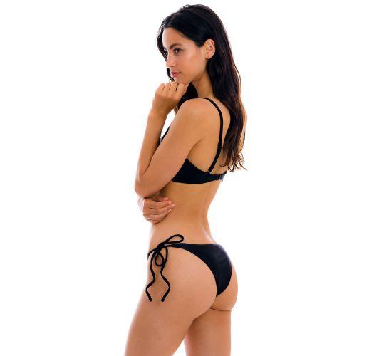 Black Brazilian side-tie bikini with sports top - SET PRETO BRA-SPORT IBIZA