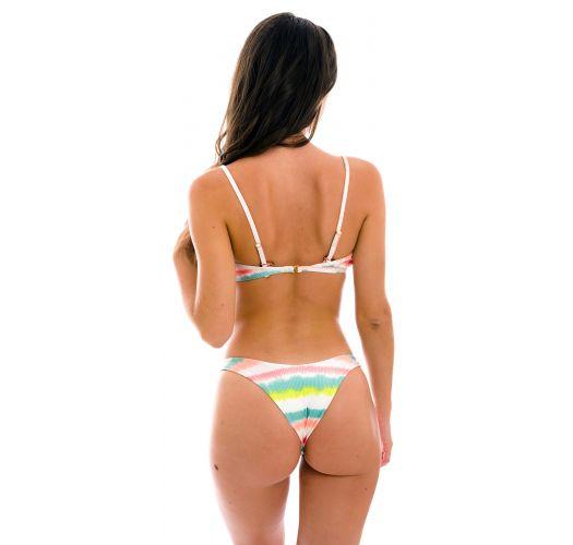 Tie-dye stripe high leg Brazilian bikini with V bralette top - SET REVELRY BRA-V HIGH-LEG