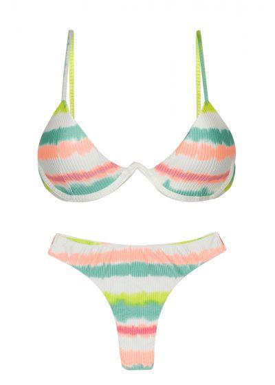 Tie-dye stripe V-underwired thong bikini - SET REVELRY TRI-ARO FIO