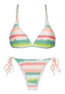 Bikini mit Seitenschnüren, Tie-Dye-Print gestreift - SET REVELRY TRI-FIXO IBIZA
