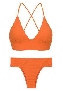 Bikini brassière orange texturé dos lacé - SET ST-TROPEZ-TANGERINA TRI-COS RIO-COS
