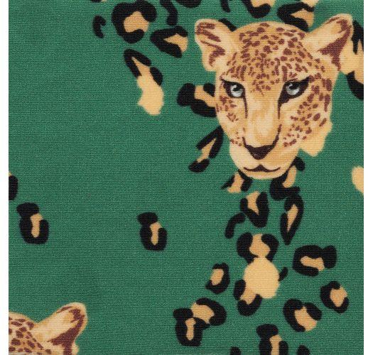 Leopard pattern green bandeau bikini and tanga - SET ROAR-GREEN BANDEAU-RETO HIGH-LEG