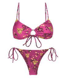 Bikini brassière à nouer devant rose motif léopard - SET ROAR-PINK MILA IBIZA