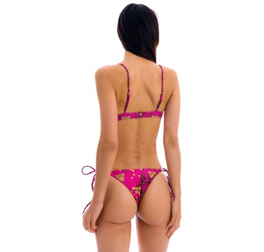 Pink leopard print Brazilian bikini with front-tie top - SET ROAR-PINK MILA IBIZA