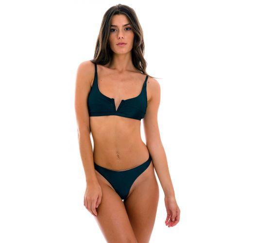 Iridescent navy blue thong bikini with V bralette top - SET SHARK BRA-V FIO