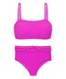 Magenta pink textured high waist bikini bottom with twisted rope - SET ST-TROPEZ-PINK RETO HOTPANT-HIGH