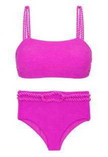 Różowe teksturowane bikini z wysokim stanem i skręconą liną - SET ST-TROPEZ-PINK RETO HOTPANT-HIGH