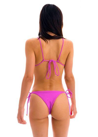 Bikini brésilien rose magenta texturé liens torsadés - SET ST-TROPEZ-PINK TRI-INV IBIZA
