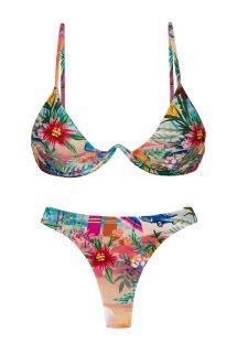 Driehoekige V beugel bikinitop en stringbroekje kleurrijk tropisch - SET SUNSET TRI-ARO FIO