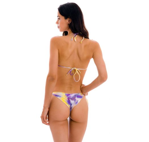 Purple / yellow tie dye scrunch  bikini with wavy edges - SET TIEDYE-PURPLE TRI FRUFRU