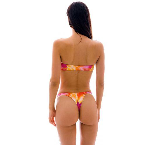 Bikini bandeau et string fixe tie dye rouge/orange - SET TIEDYE-RED BANDEAU-RETO FIO