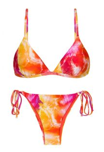Tie-dye red / orange side-tie bikini - SET TIEDYE-RED TRI-FIXO IBIZA