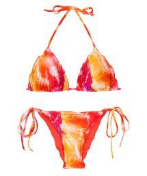 Bikini scrunch tie dye rouge/orange bords ondulés - SET TIEDYE-RED TRI FRUFRU