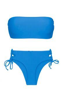 Blue bandeau bikini with double sides tie - SET UV-ENSEADA BANDEAU-RETO MADRID
