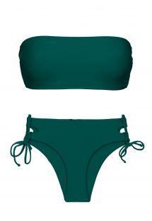 Biquíni cai-cai verde-escuro c/ cueca de laterais duplas - SET UV-GALAPAGOS BANDEAU-RETO MADRID