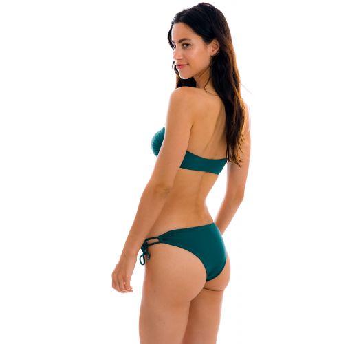 Dark green bandeau bikini with double sides tie - SET UV-GALAPAGOS BANDEAU-RETO MADRID