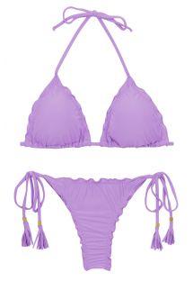 Lila Scrunch-String-Bikini, Ränder gewellt - SET UV-HARMONIA TRI FRUFRU-FIO