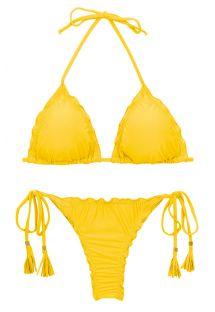 Gelber Scrunch-String-Bikini, gewellte Ränder - SET UV-MELON TRI FRUFRU-FIO