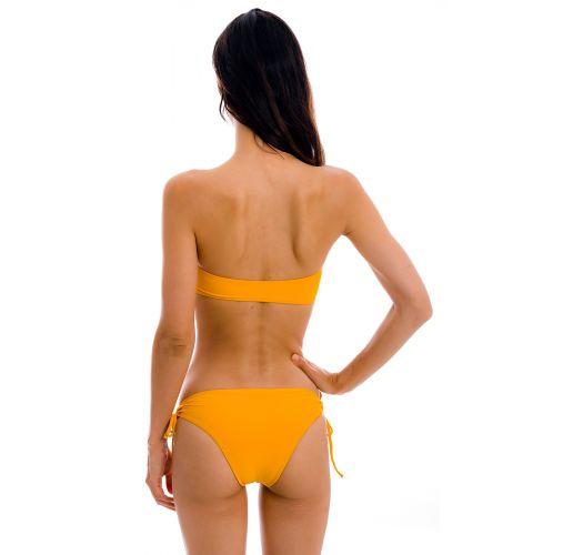 Orange bandeau pull-on bikini with double side tie bottom - SET UV-PEQUI BANDEAU-RETO MADRID