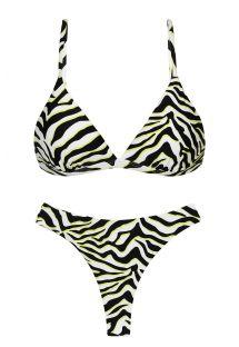 Driehoekige V beugel bikinitop en stringbroekje zwart/witte tijgerprint - SET WILD-BLACK TRI-FIXO FIO