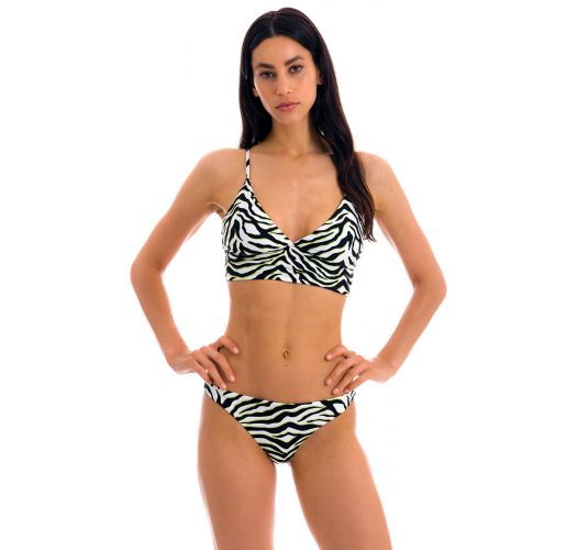 White & black tabby laced back bralette bikini - SET WILD-BLACK TRI-TANK COMFY