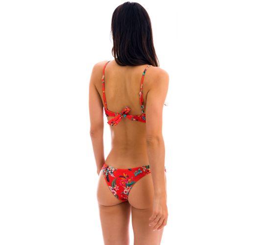 Red floral high-leg bikini with sports top - SET WILDFLOWERS BRA-SPORT LISBOA