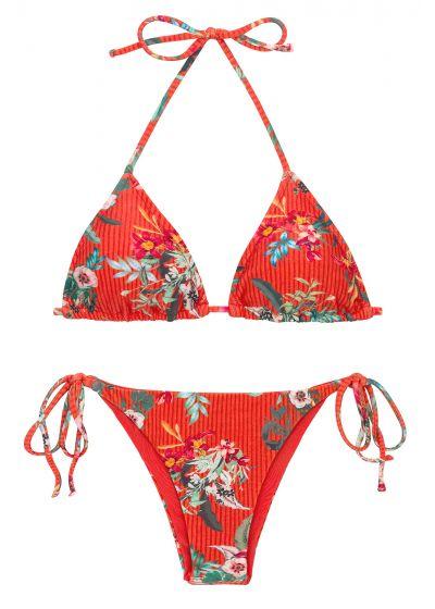 Bikini brésilien à nouer rouge à fleurs - SET WILDFLOWERS TRI-ROL IBIZA
