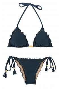 Iridescent navy side-tie scrunch bikini - SHARK FRUFRU