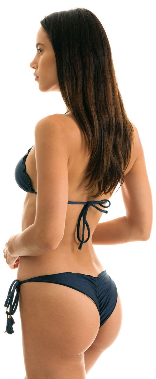 Iridescent navy side-tie scrunch bikini - SHARK FRUFRU