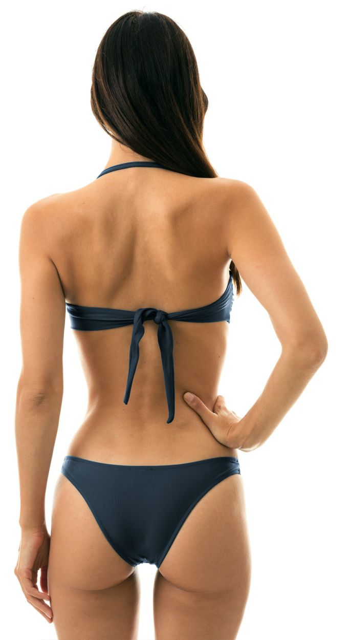 Bikini bandeau bleu nuit irisé et tanga high leg - SHARK BANDEAU