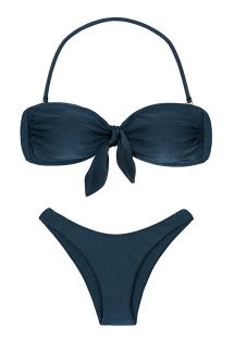 Iridescent navy blue high-leg bikini with bandeau top - SHARK BANDEAU