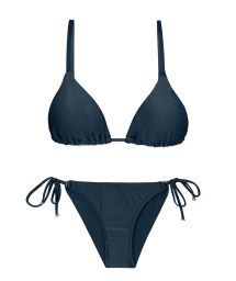 Accessorized iridescent navy side-tie bikini - SHARK INV COMFORT