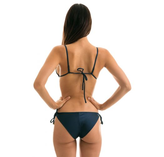 Accessorized iridescent navy side-tie bikini - SHARK INV COMFORT