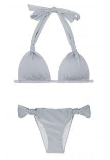 Silvery sliding halterneck triangle bikini - SILVER CORTINAO