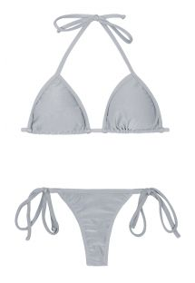 Silver G-string swimsuit which can be tied - SILVER TRI MICRO