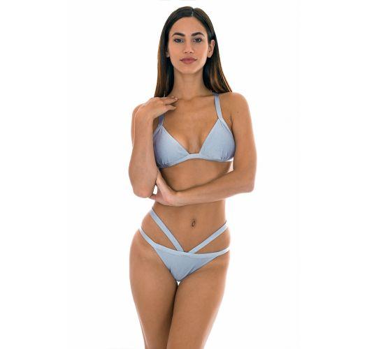 Sølvfarvet fastsiddende trekant bikini med krydset ryg - SILVER TRIANGULO