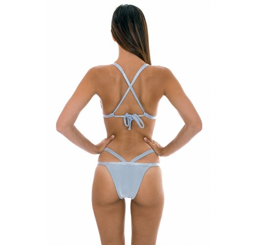 Fixed silvery triangle bikini with racerback - SILVER TRIANGULO