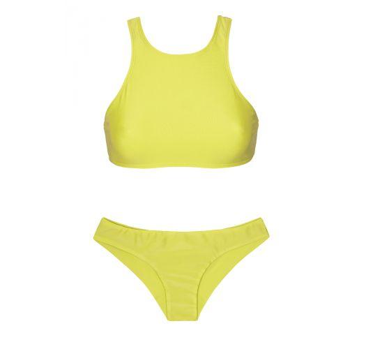 Lime coloured sport crop top bikini - SPORTY ACID