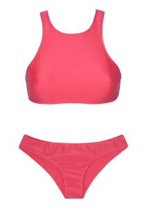 Dark pink Brazilian sport bikini bottom and crop top - SPORTY FRUTILLY