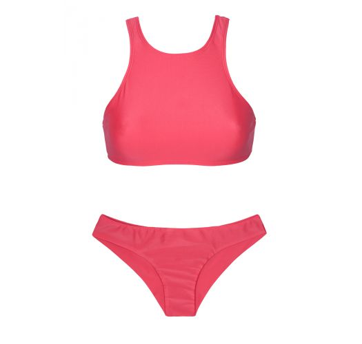 Bikini brasileño deportivo rosa oscuro y crop top - SPORTY FRUTILLY