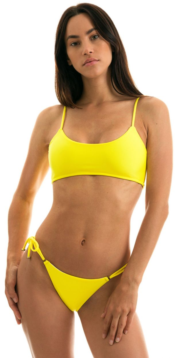 Lemon yellow side-tie bikini with bra top - STREGA BRA
