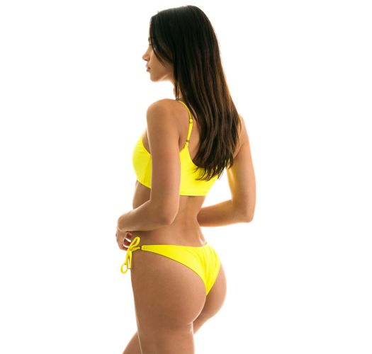 Lemon yellow side-tie bikini with bra top - STREGA BRA