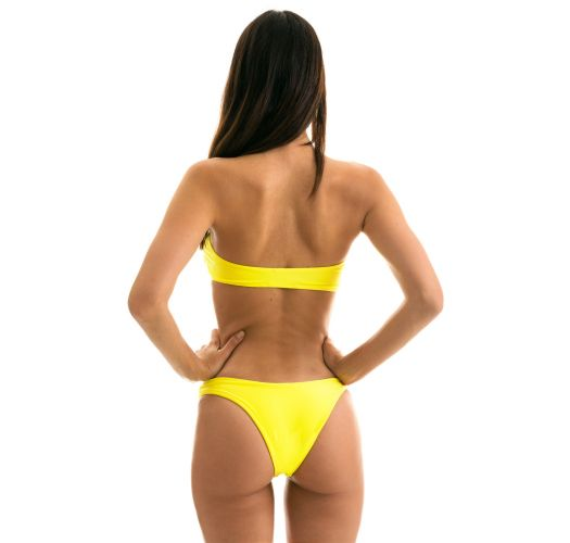 Lemon yellow fixed bikini with bandeau top-sudip - STREGA RETO