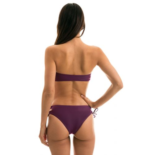 Plum laced larger-side bikini with bandeau top - SUBLIME RETO