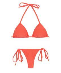 Salmon pink side-tie string bikini with sliding top - TABATA MICRO