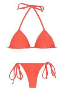 Salmon pink side-tie string bikini with sliding top - TABATA MICRO