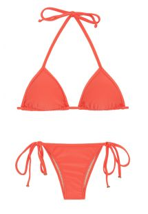 Salmon pink side-tie Brazilian bikini with sliding top - TABATA TRI